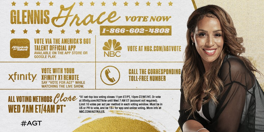 NOW... GO VOTE FOR ME! ❤️ YOU ALL! @AGT #AGT #GlennisGrace https://t.co/wydyzpFu2p https://t.co/i04hQ5yUN0