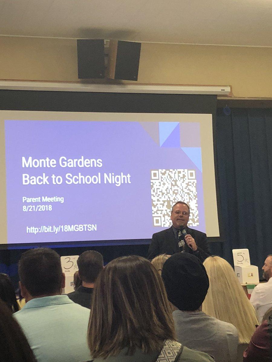 @jonfey welcoming parents to Back To School Night. @MonteGardensEl #teammdusd