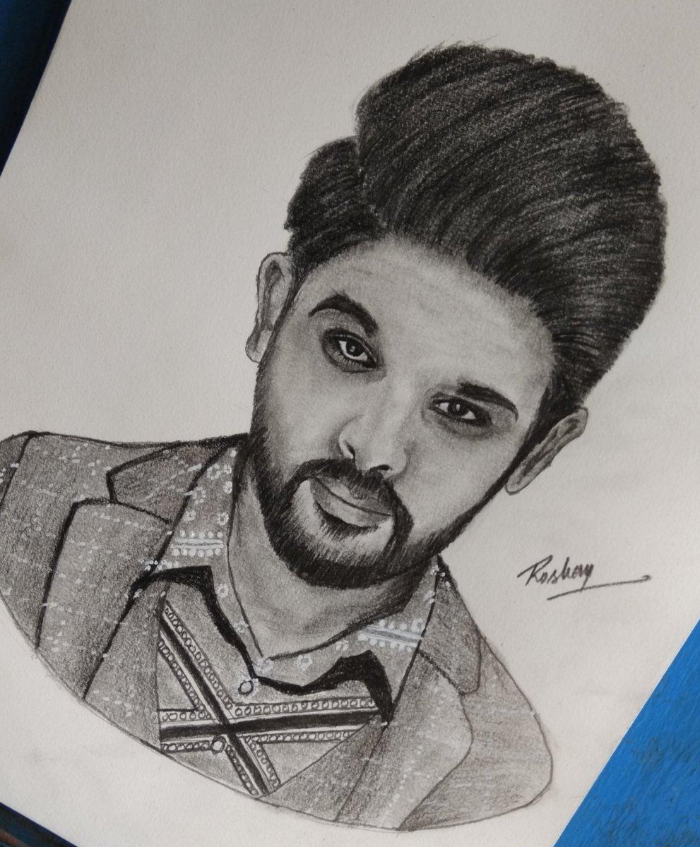 Roshan kumar dangi on twitter allu arjun pencil sketch video