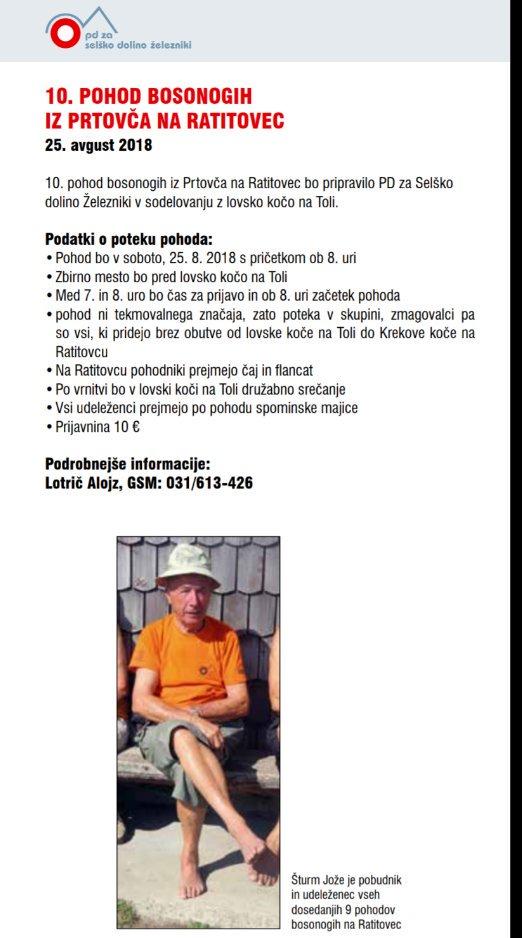 👣 10. pohod #bosonogi -h na #Ratitovec , vabljeni. 💪  #NasvetZaIzlet   cc. @planinskazveza