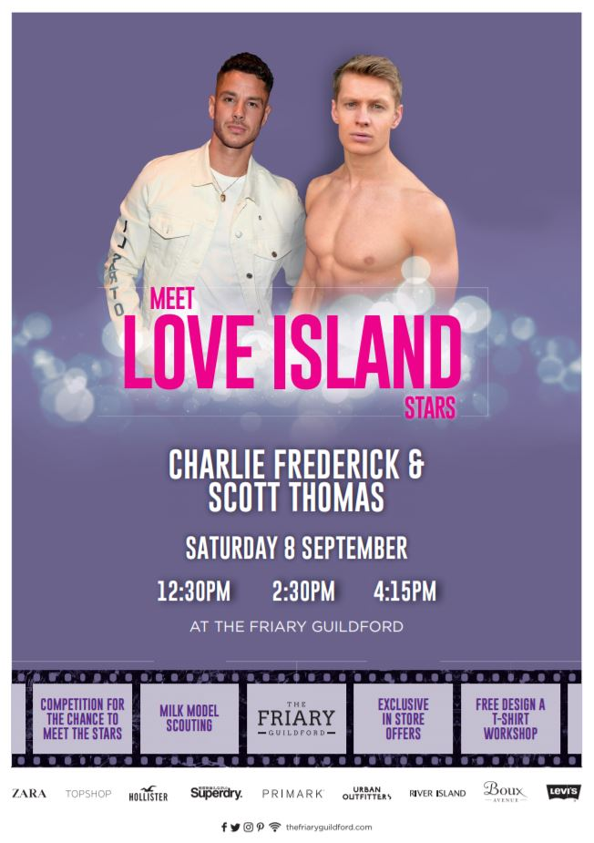 The friary guildfords tweet attention love island fans for free meet and greets gather your friends get your best selfie faces at the ready join us at 1230pm 230pm and 415pm bit2vaxmmd m4hsunfo