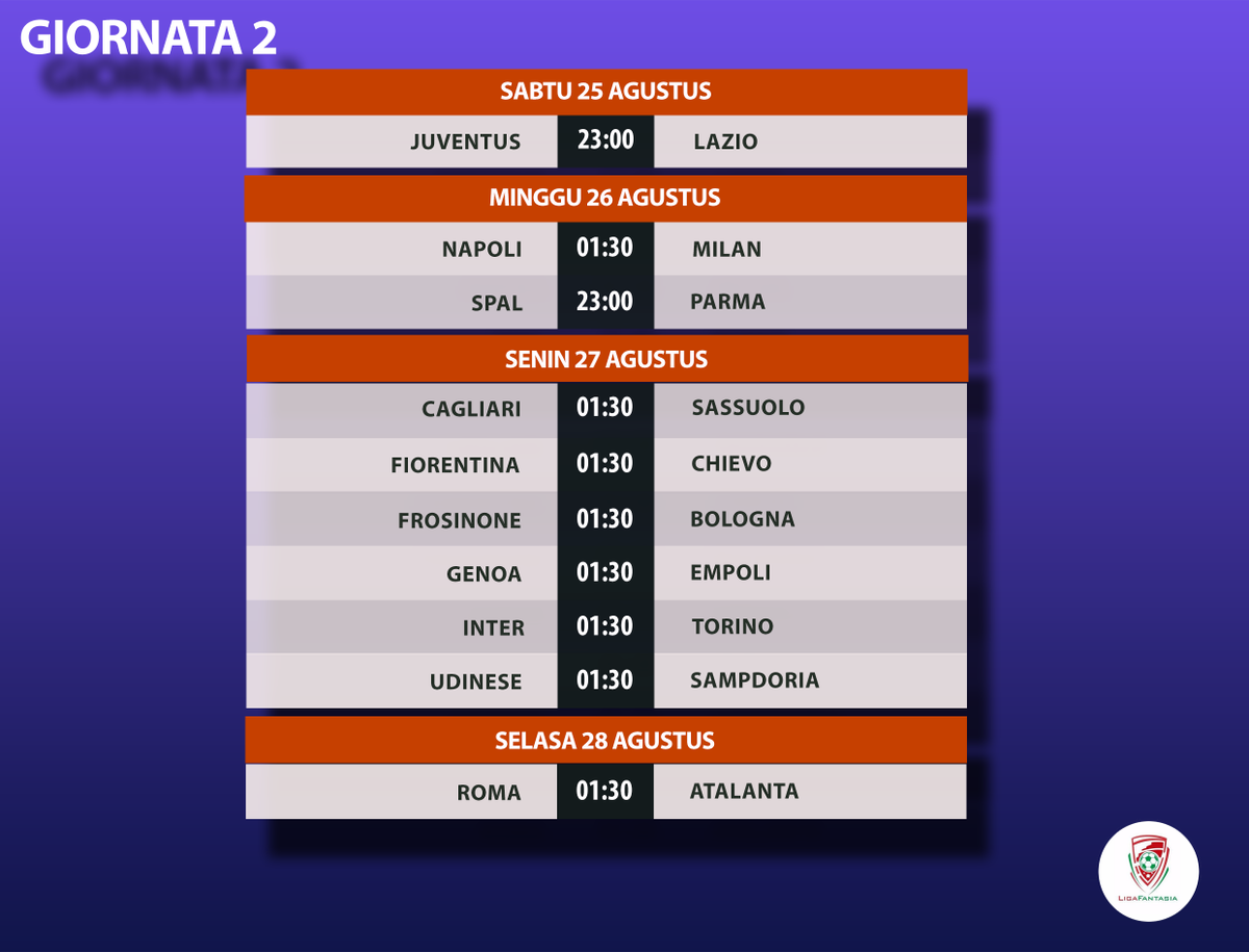 Ligafantasia 2020 21 A Twitter Jadwal Pertandingan Liga Italia Serie A Giornata 2 Deadline Atur Tim Sabtu 25 Agustus Pukul 22 00 Wib