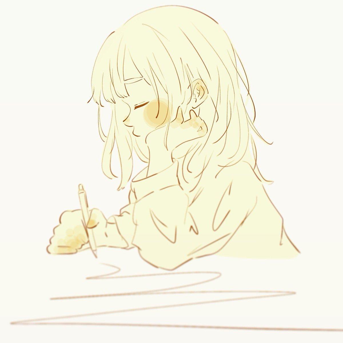 ね あ в твиттере 眠いよ 女の子 眠い 黄色 頬杖 イラスト
