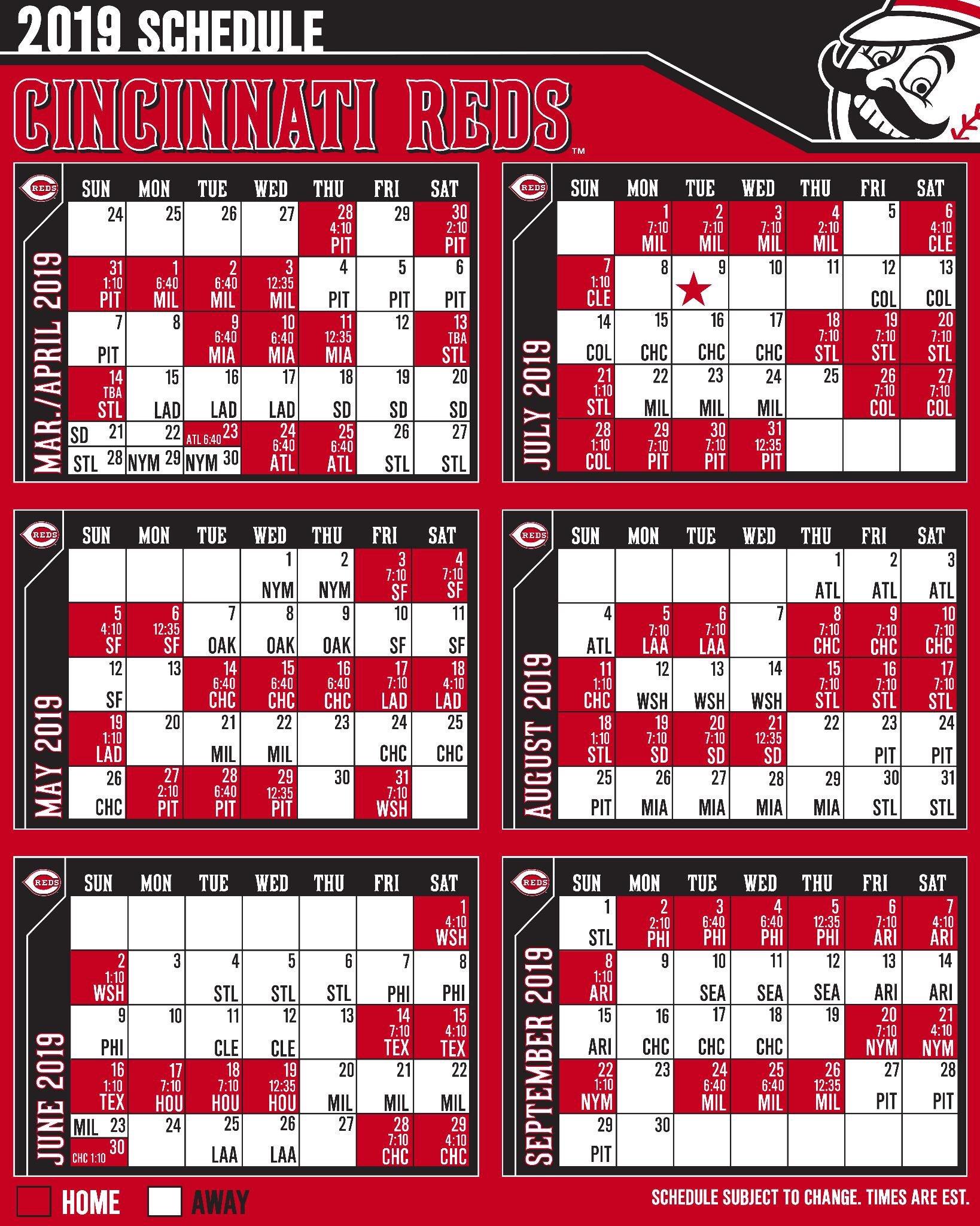 Cincinnati Calendar 2019 2019 Reds Schedule