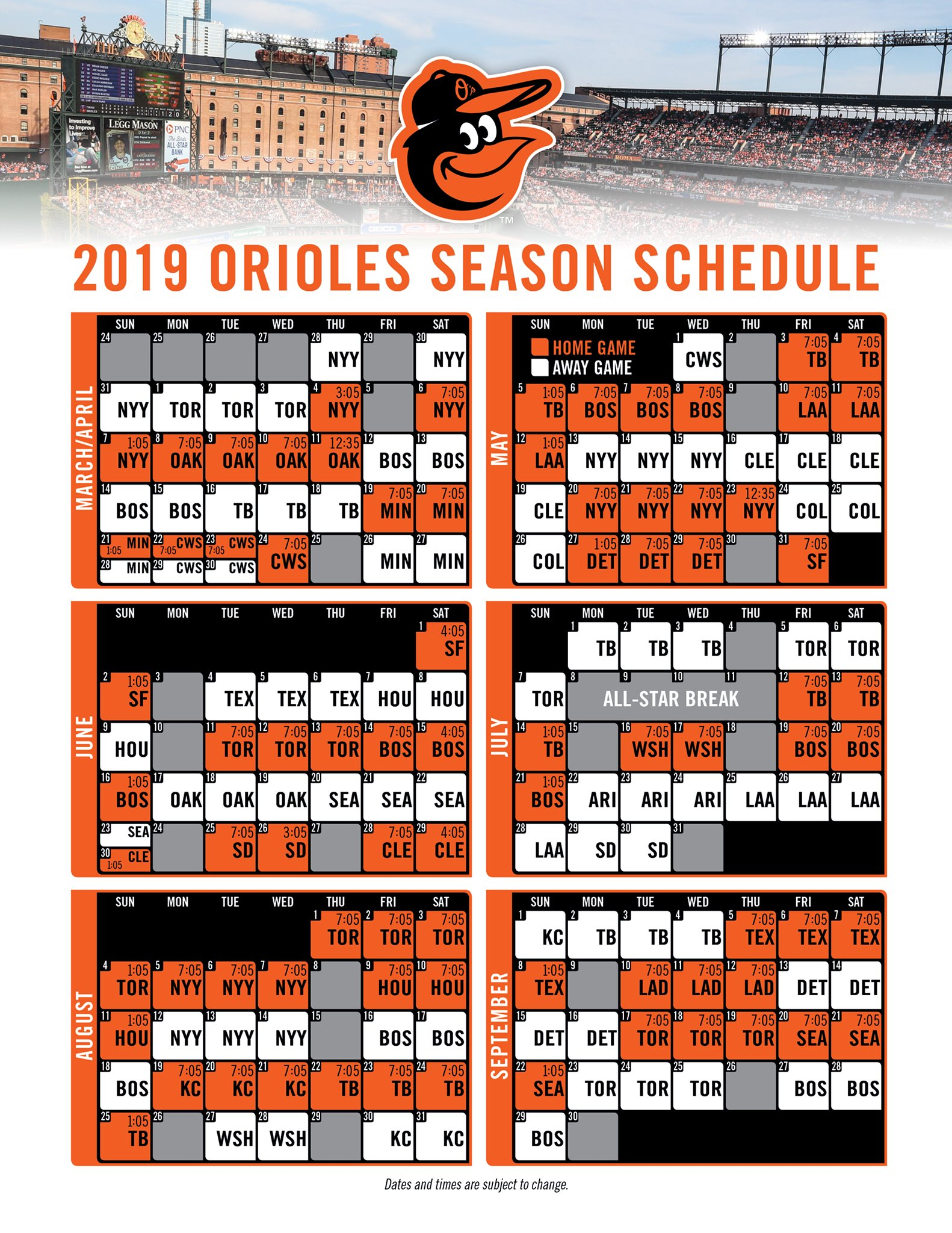 Influential image throughout orioles printable schedule
