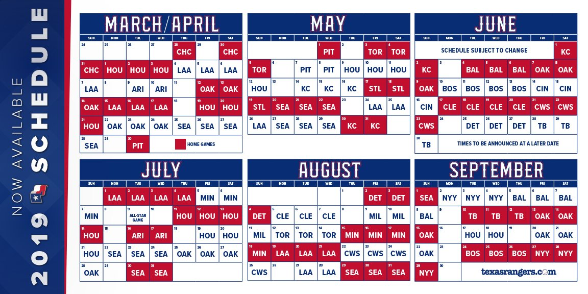 Sly image inside texas rangers schedule printable