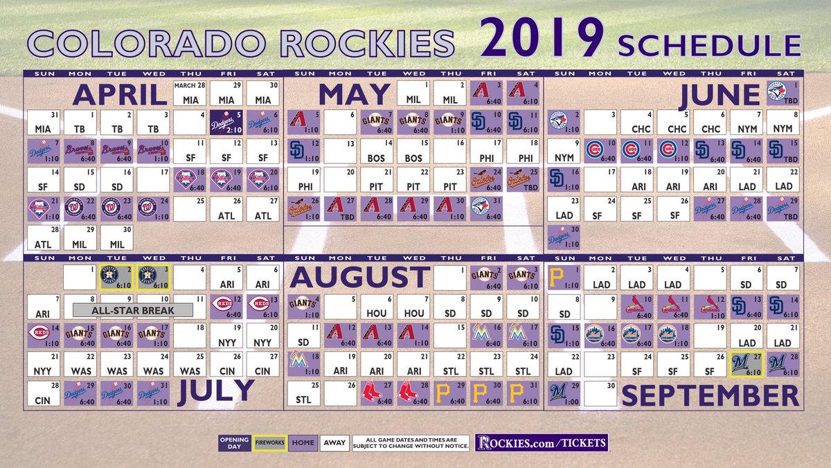 Rockies 2019 Schedule Colorado Rockies on Twitter: