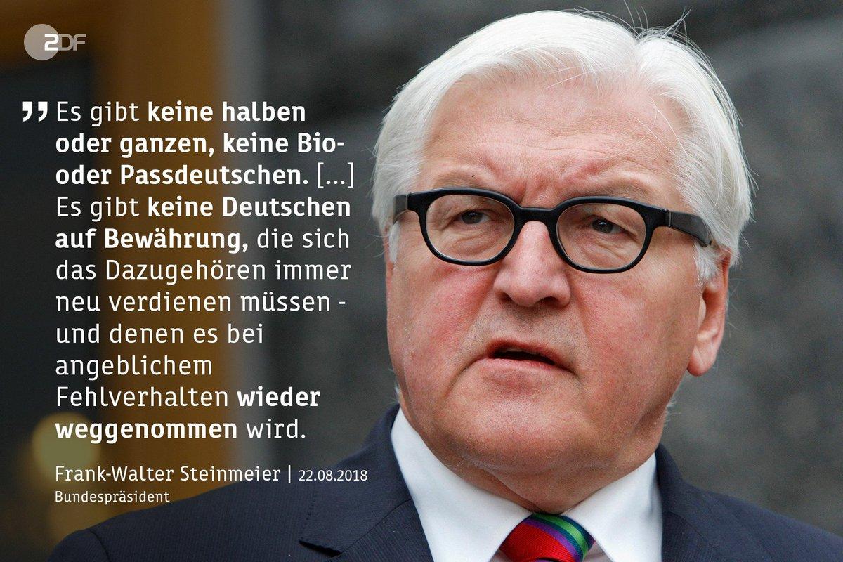 Mit deutlichen Worten hat #Bundespräsident Frank-Walter #Steinmeier #Rassismus und #Diskriminierung verurteilt. Ein 'permanenter Verdacht  gegen Zugewanderte' sei beschämend für unser Land und gefährlich für die #Demokratie.