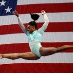 Image for the Tweet beginning: Powerhouse gymnast's choice of leotard