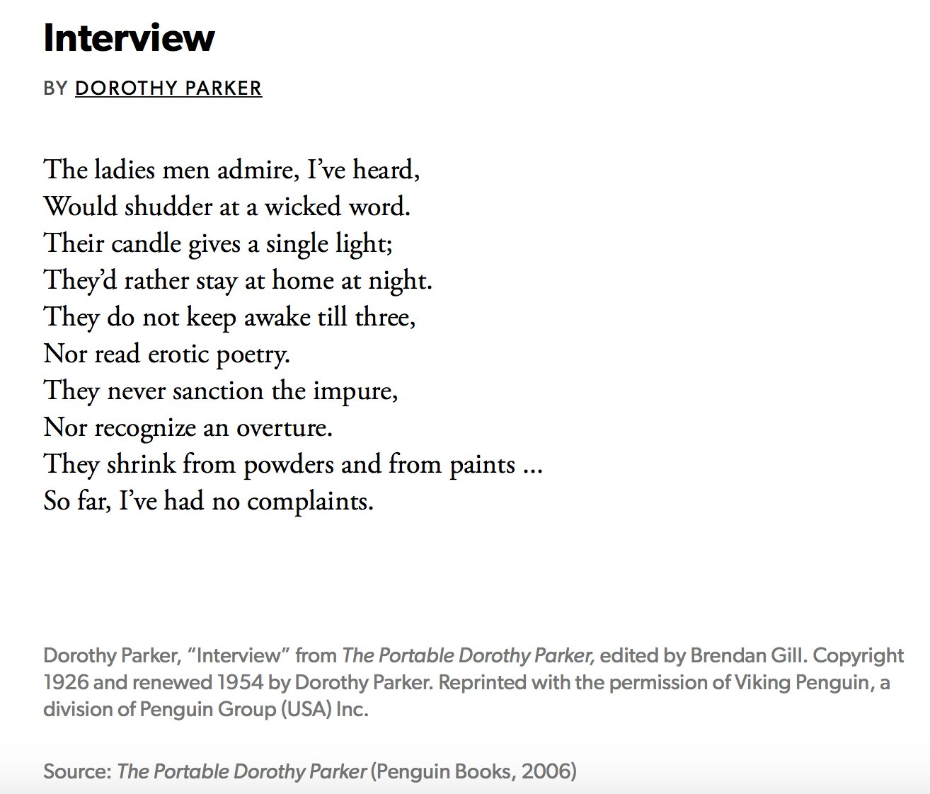 "Image of ""Interview"" by Dorothy Parker"