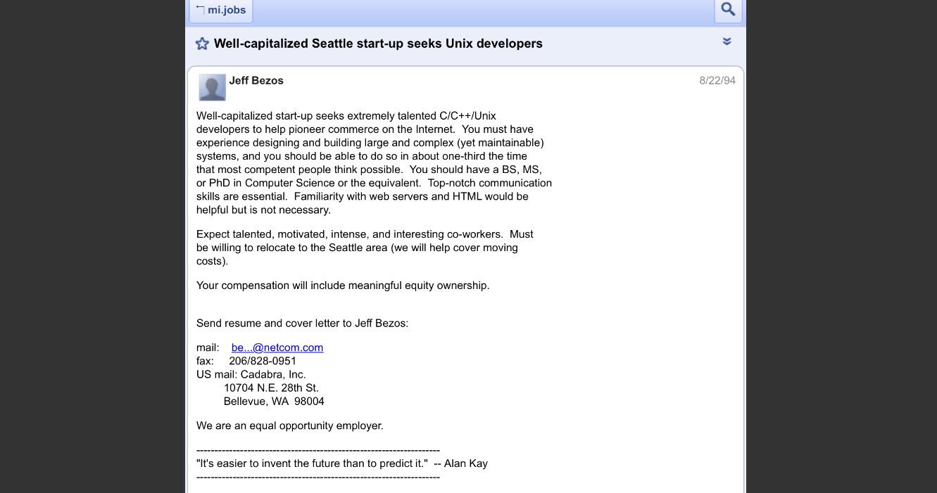 On This Day In 1994 Jeff Bezos Posts The First Job Ad For Amazon