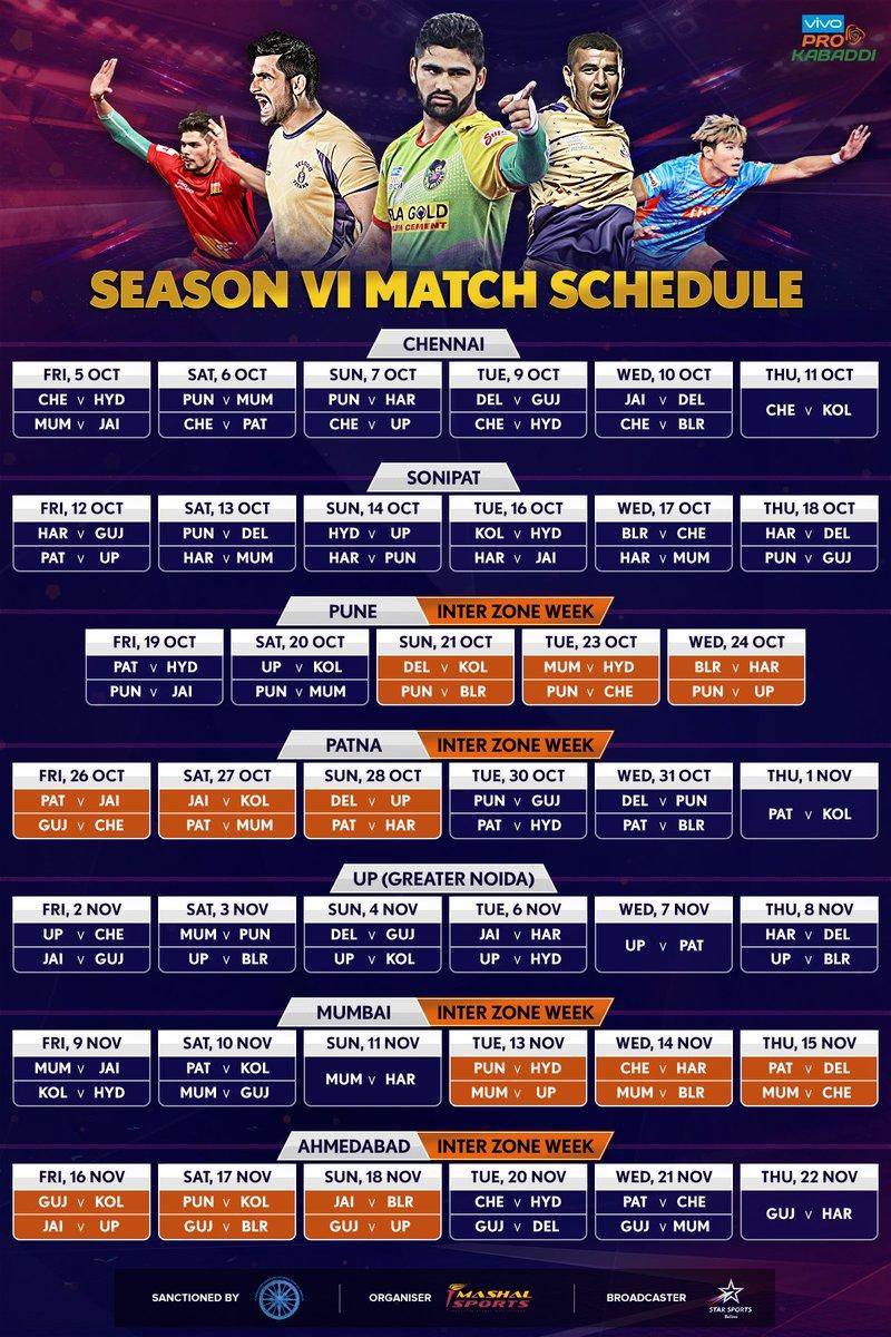 Pro Kabaddi League Schedule   Sports Betting India