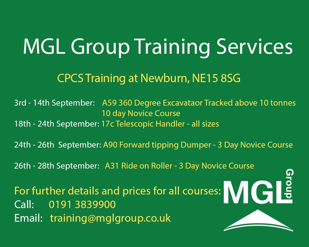 28b2a9a280 MGL Group #TrainingServices have #CPCS Training at our Newburn Training  Centre. For details of CPCS Training Courses contact Tracey Forshaw on 0191  3839900 ...