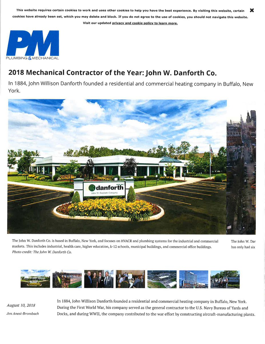 Danforth On Twitter The Rochester Business Journal Recently Covered Our Recognition Of Being Named The 2018 Mechanical Contractor Of The Year By Plumbing Mechanical Magazine Check Out The Mention From The