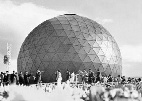 """Karlheinz Stockhausen was born 90 years ago today. The 'Papa of Techno' composed """"EXPO"""" for the world's 1st spherical concert hall - Germany's pavilion at World #Expo1970 Osaka"""