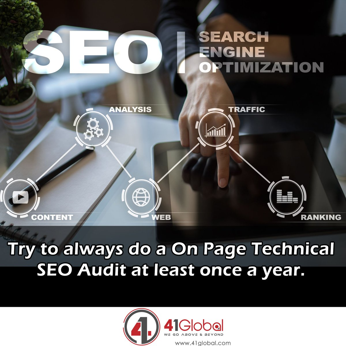 SEO Tip! Performing a on page technical audit on your site will allow you to see check and confirm title tag, header tag, description tag and images are correctly optimized for search engines. #41Global #website #webdevelopment #marketing101 #webdesign #webdesigner #seo