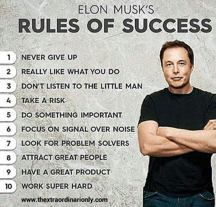 Hazlo Emma On Twitter 10 Rules Of Success By Elon Musk Quote