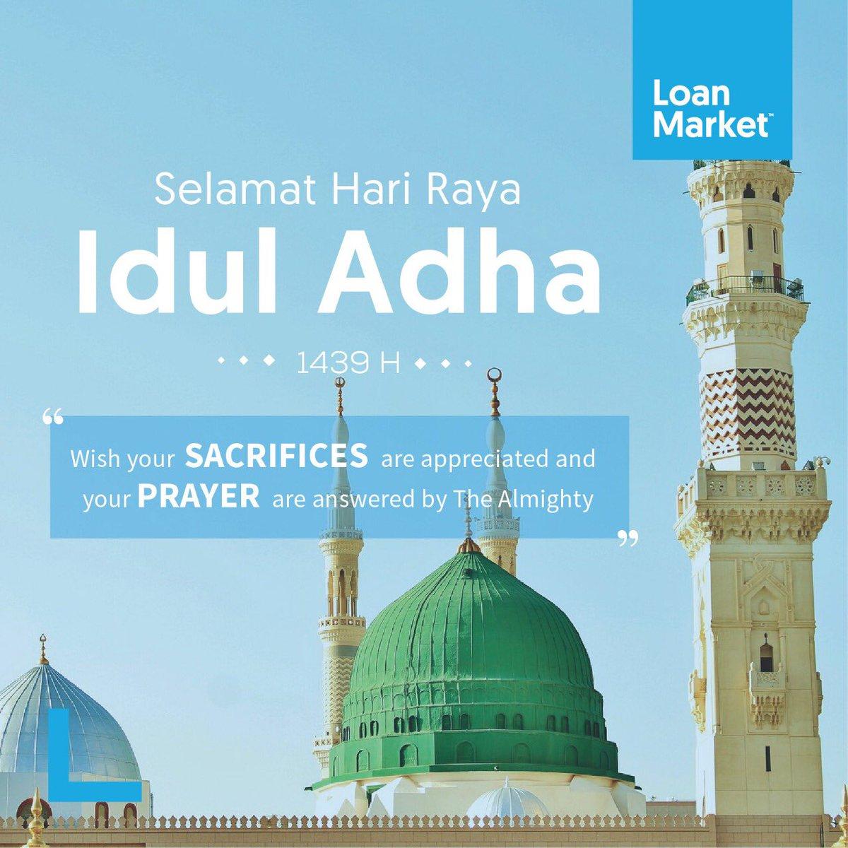 Keluarga Loan Market Indonesia mengucapkan Selamat Hari Raya Idul Adha 1439 H. . Semoga di hari ini kita dapat belajar untuk ikhlas dalam berkurban dan berbagi kebahagian kepada sesama. . #loanmarketindonesia #loanmarket #loanadvisers #iduladha #1439H #august2018 #eidadhapic.twitter.com/8KYa5Gw4pD