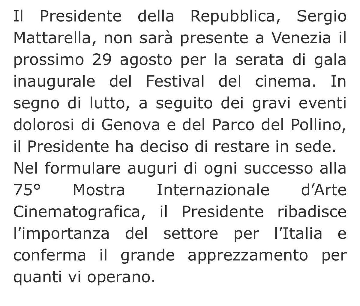 Il Presidente #Mattarella non parteciperà all'inaugurazione della 75^ Mostra Internazionale del #Cinema, la nota: