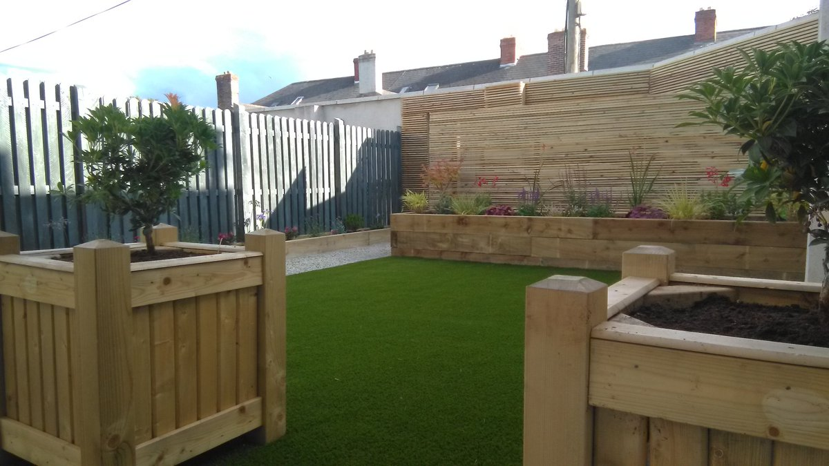 Completed photos of completed project in Drumcondra with raised beds , timber screening, low maintenance shrubs and Royal Grass Silk 35 artificial grass. @DubArtificial  #Dublin   #artificialgrass  #ireland  #garden