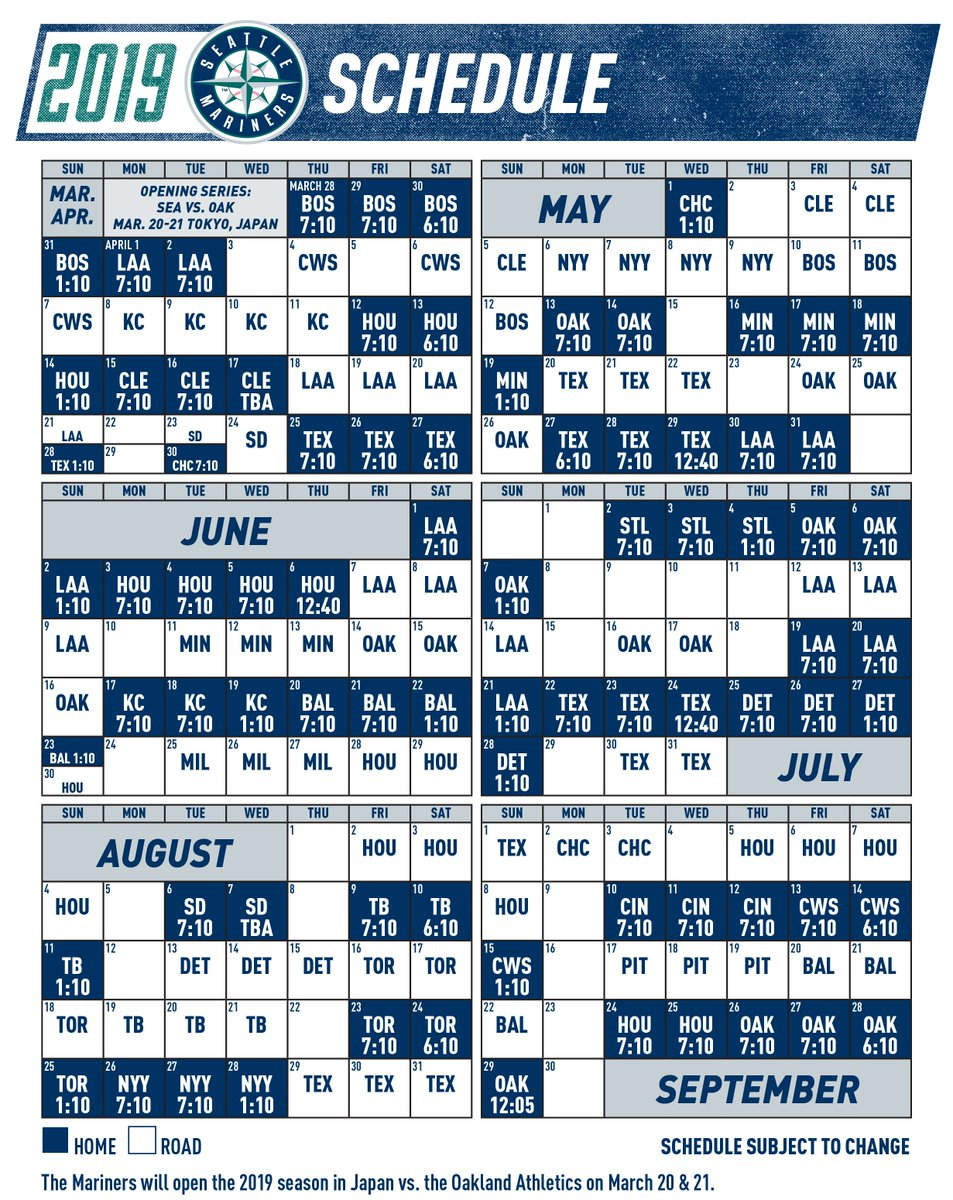 Revered image with mariners printable schedule