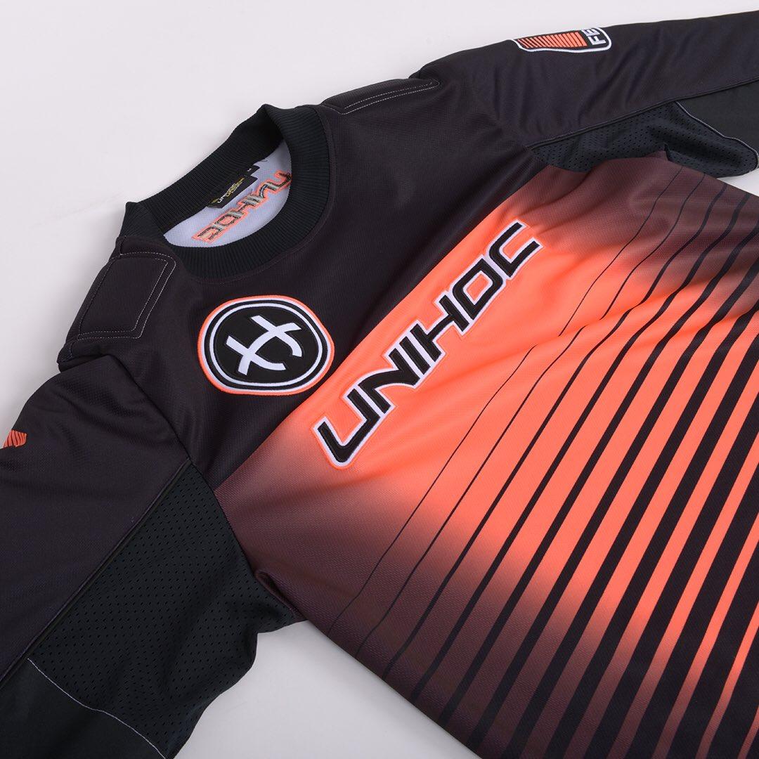dac4e861523 Details of the Goalie sweater INFERNO black neon orange.  unihoc pic.twitter.com RNtSjNBL9A