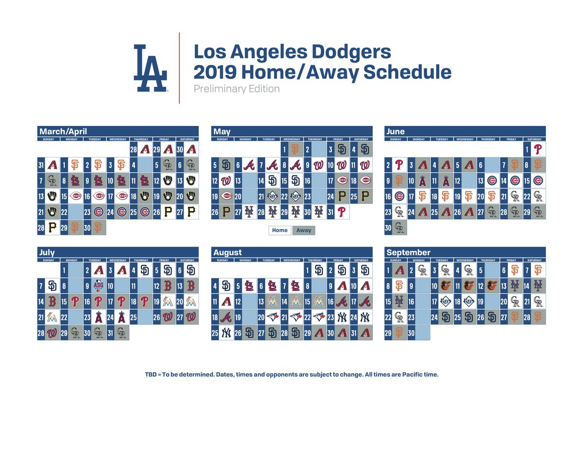 Los Angeles Dodgers On Twitter Mark Your Calendar The 2019