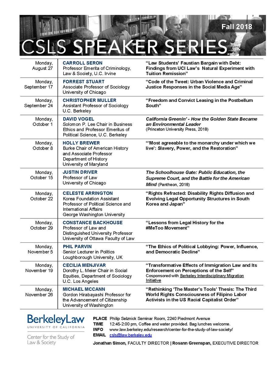 Csls At Uc Berkeley On Twitter Csls Speaker Series Calendar For