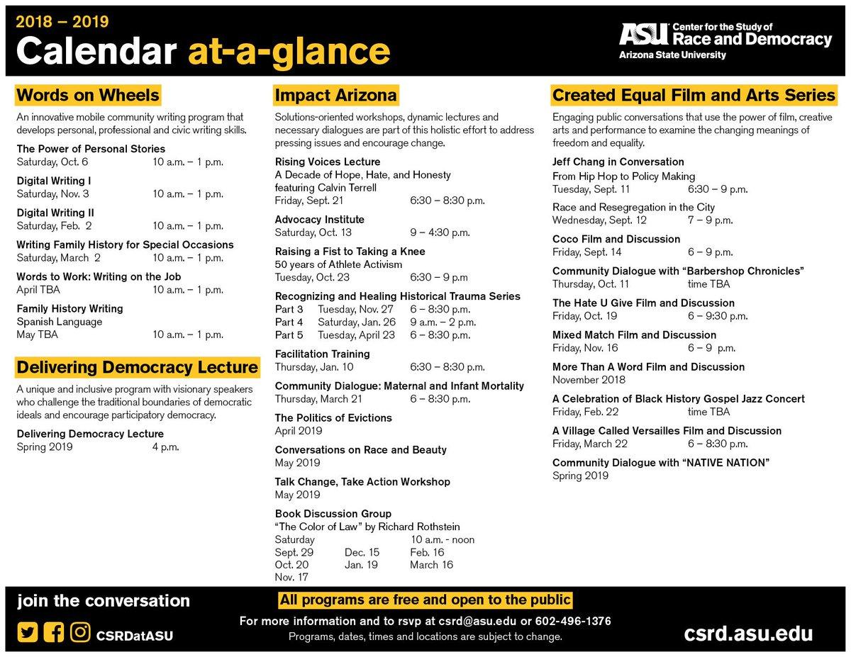 Asu Calendar Fall 2019 CSRD @ Arizona State (@CSRDatASU) | Твиттер