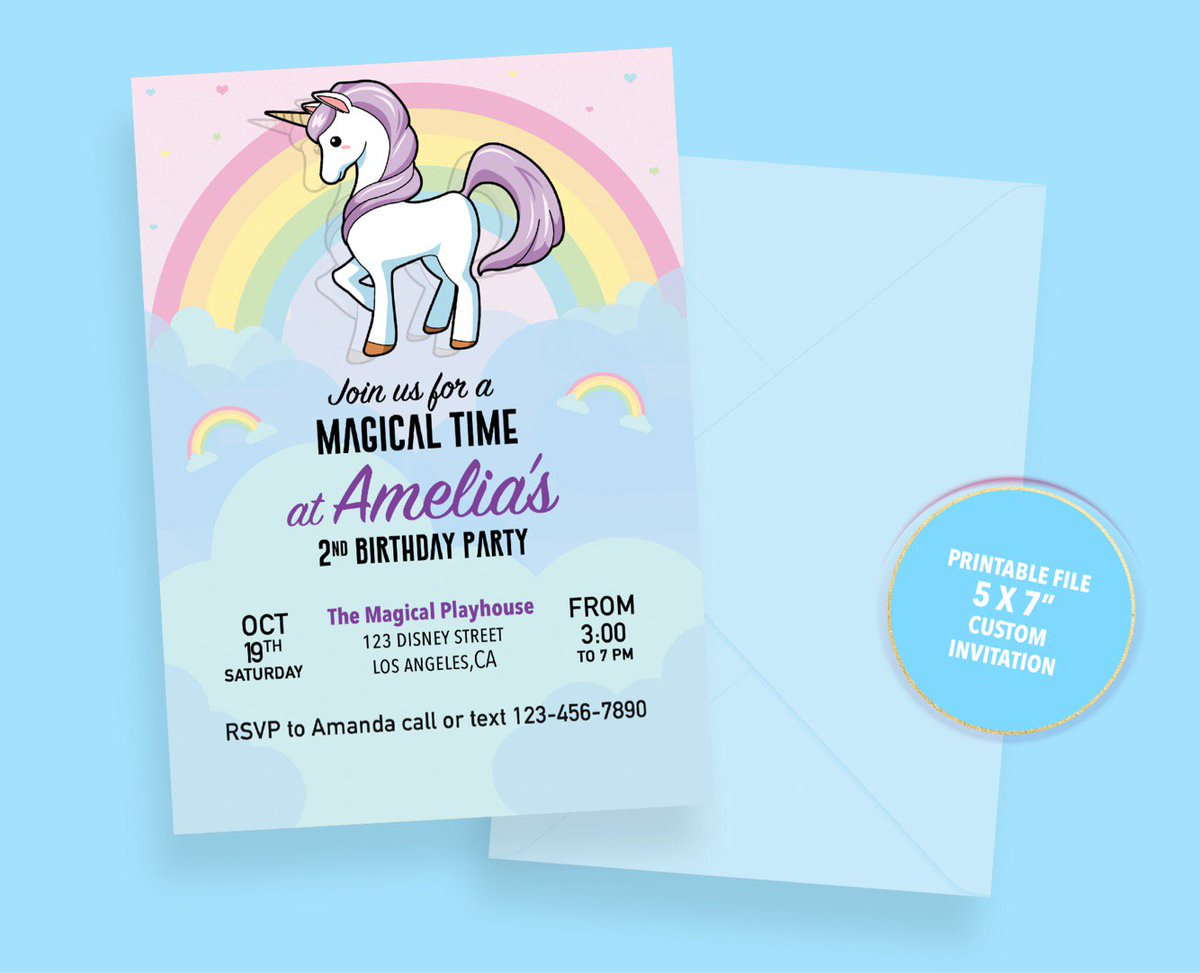 InticeGFX On Twitter Calling All Unicorn Lovers Check Out The Cute Birthday Invites At Tco A9XAAZoAGD Unicorns Magicalbirthday
