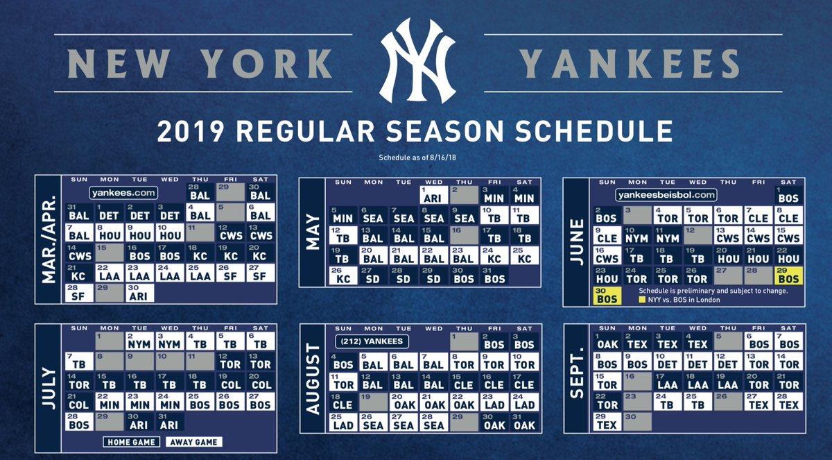 Ny Yankees 2019 Schedule Bryan Hoch on Twitter: