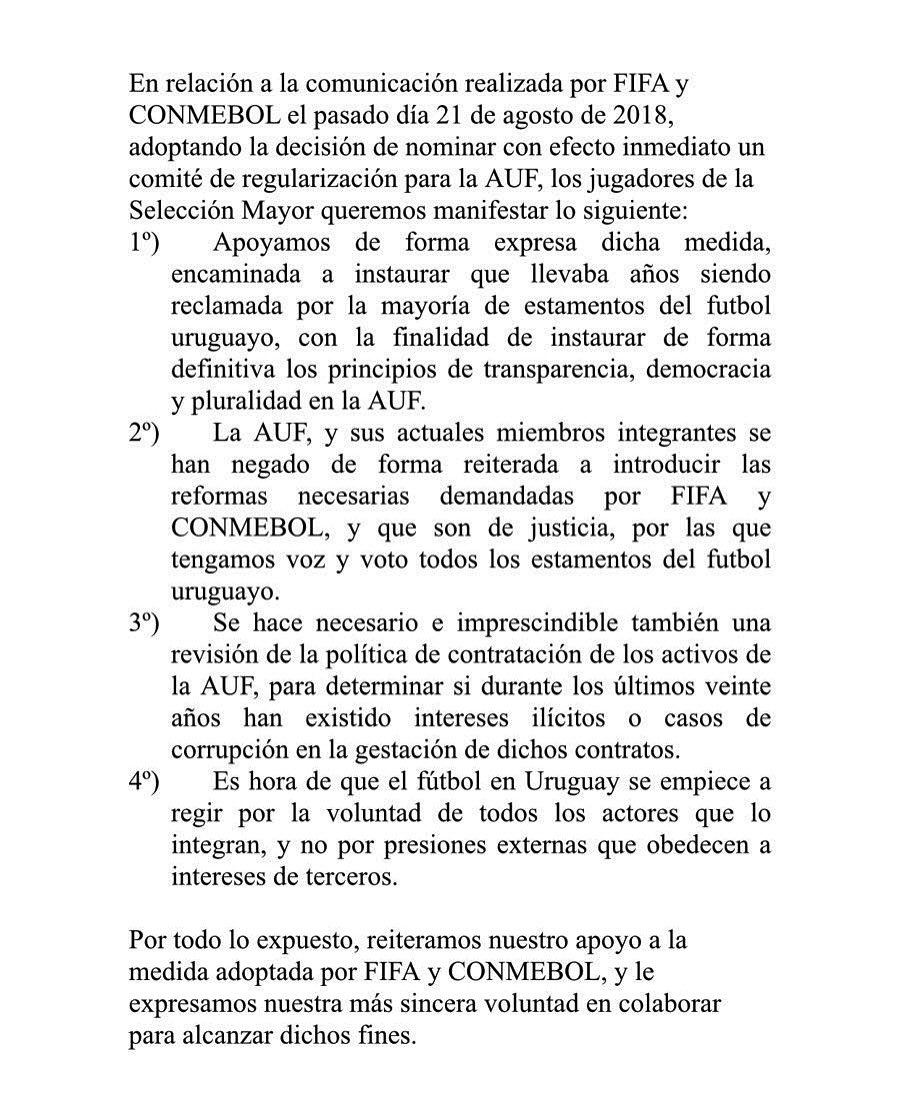 Comunicado oficial de los jugadores de la seleccion uruguaya de Fútbol https://t.co/1TuFoAXPTW