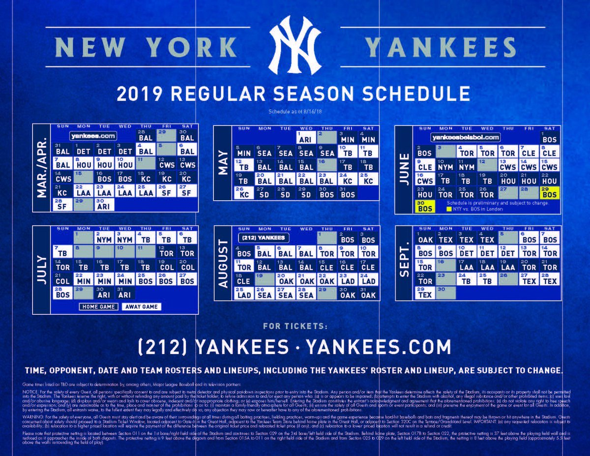Ny Yankees 2019 Schedule Chris Dixon on Twitter: