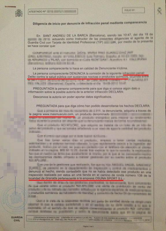 Denuncia en la Guardia Civil a Osuna Sport (Masmusculo)