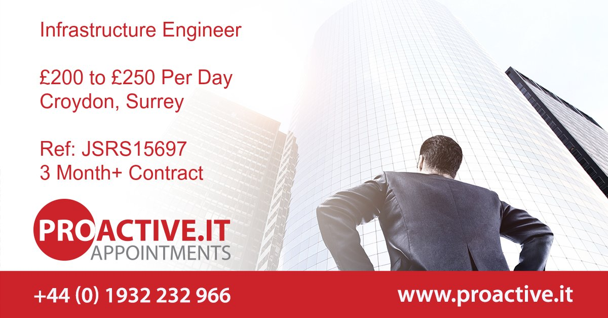 Our client is currently looking for a contract Infrastructure Engineer to join their team at their head offices in Croydon. This is an excellent opportunity for an experienced Infrastructure Engineer to add a well-known name to their CV.   http://bit.ly/2w5Ro1R   #ITIL3 #Prince2