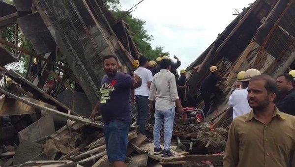 Under-construction roof-slab of BRTS bus station in Surat city collapse, girl dead, half a dozen injured