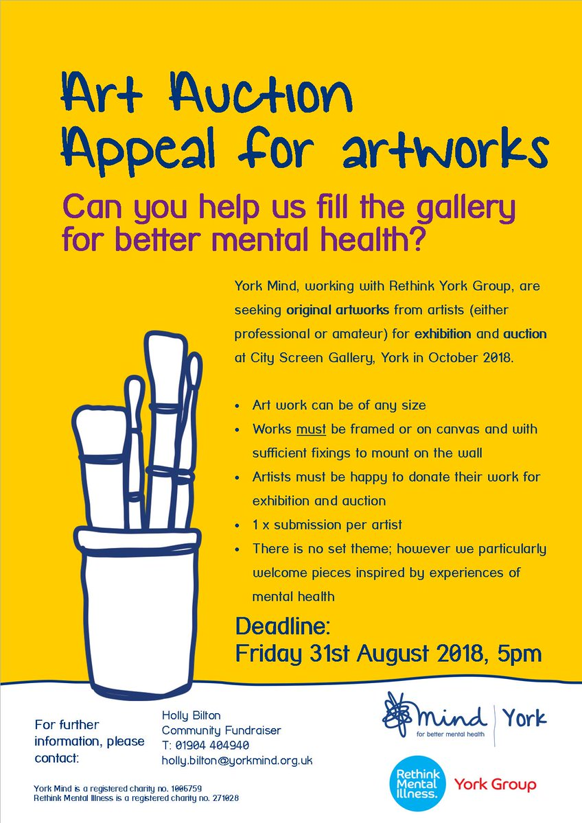 Working with @Rethink_ York Group we are seeking original artworks from  artists professional/amateur for exhibition/auction @CityScreenYork  Deadline 5pm ...