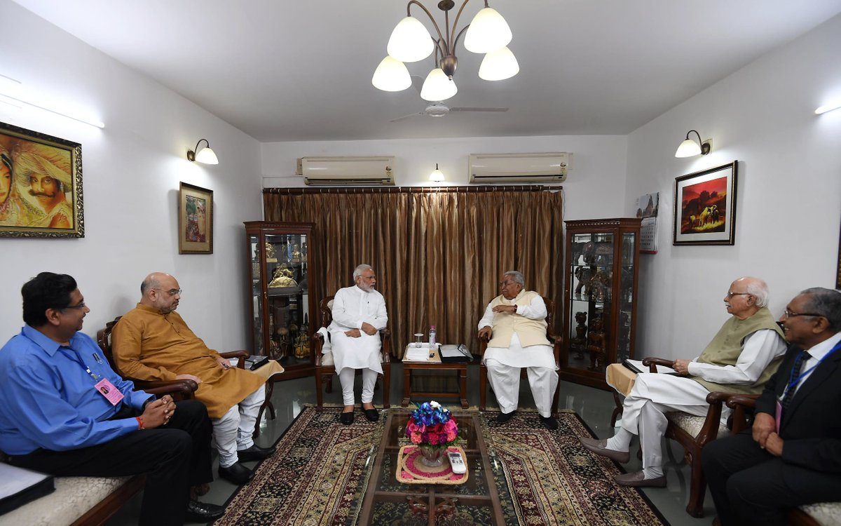 PM, Shah, Advani, Keshubhai, Lehri attend Shri Somnath Trust's meeting at Raj Bhavan in Gandhinagar