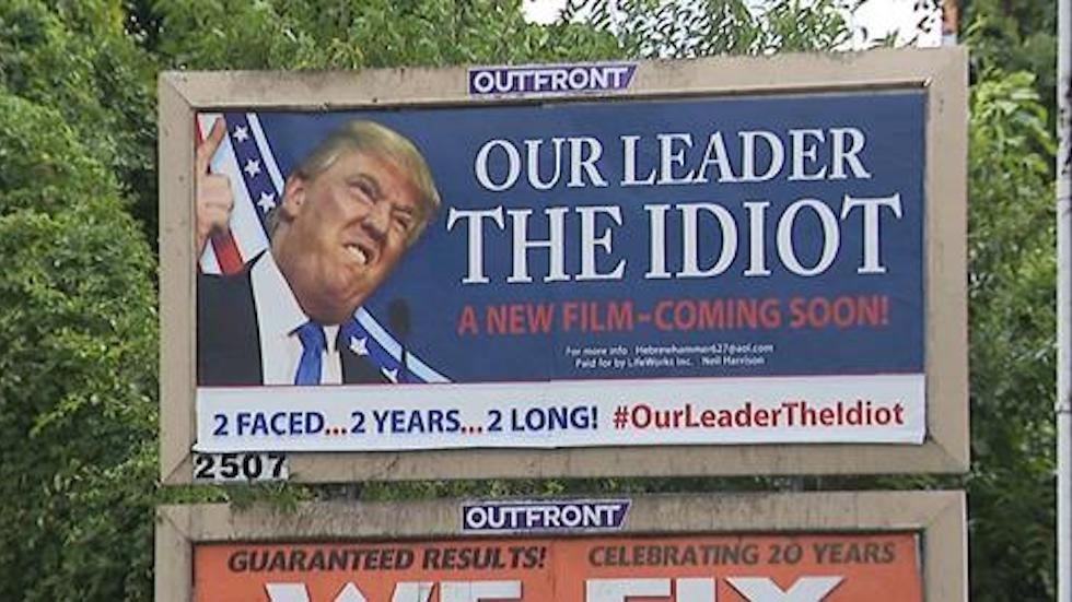 Billboard for new documentary calls Trump an 'idiot,' sparks outrage in New Jersey town