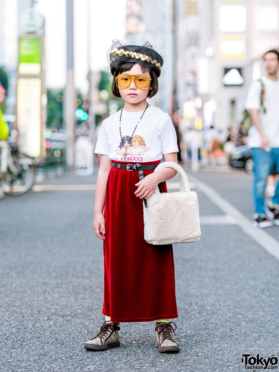 790e8670d00 7 year old japanese style icon coco princess on the street in harajuku  wearing a fiorucci