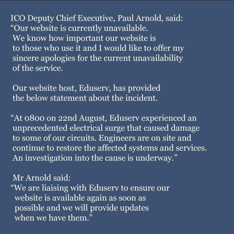 Ico On Twitter Updated Statement Regarding The Website This Is Currently Unavailable 551 Am 23 Aug 2018
