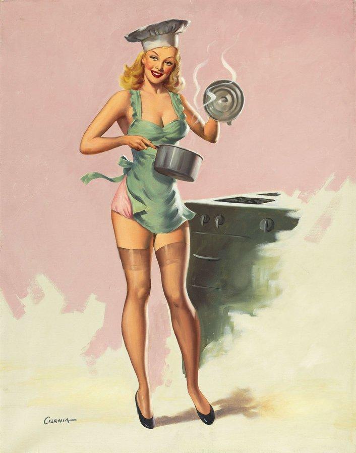 Открытка кухня-враг женской красоты, букет