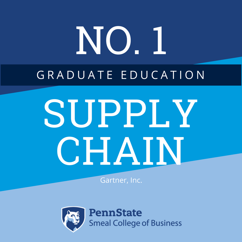 """Penn State Smeal a Twitteren: """"No. 1 in Supply Chain, again! This time for  graduate education. This marks the 5th time @penn_state @SmealCollege has  earned the top spot, and the first time"""