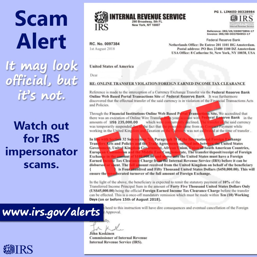 NEW SCAM ALERT: Beware of letter pretending to be from #IRS. Learn more at irs.gov/alerts