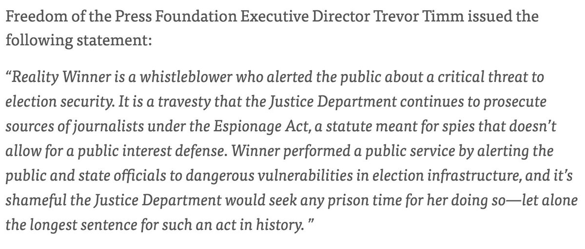 Our statement on whistleblower Reality Winner being sentenced to the longest prison sentence in the history of leak cases for alerting the public about attempts to hack US election infrastructure:  https://t.co/cSpSQEz66o