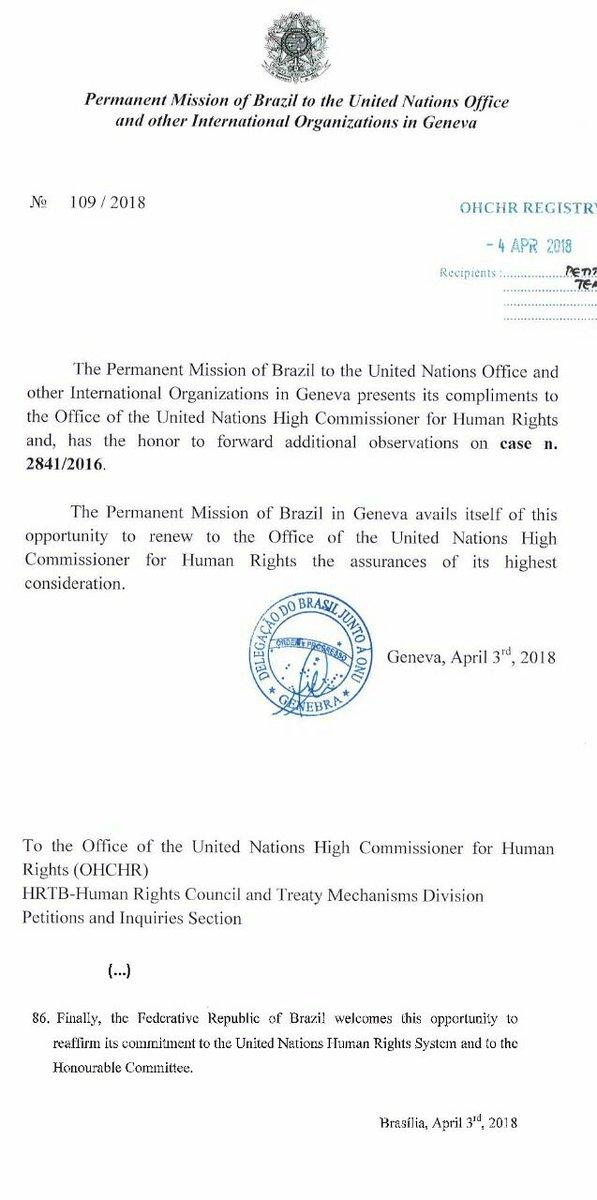 BRASIL REAFIRMOU SEU COMPROMETIMENTO COM O COMITÊ DE DIREITOS HUMANOS DA  ONU Veja o final da 6d2d61b5c1be2