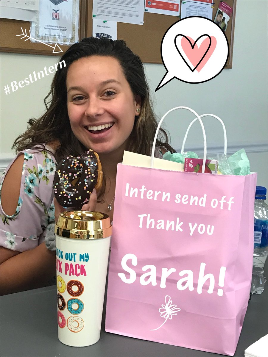 Saying goodbye for now to this girl who was instrumental in kicking off an awesome video marketing strategy and doing all the filming and editing!! Will miss you @Sarah_Alex248! #SaveMeADonut #Cybersecurity #BestIntern