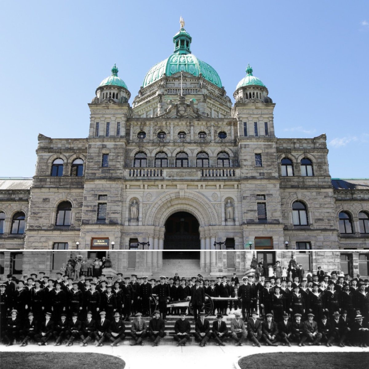 The BC Parliament Buildings in Victoria–matched up here with an image from 1914. Personnel from the Royal Naval Canadian Volunteer Reserve pose for the camera.