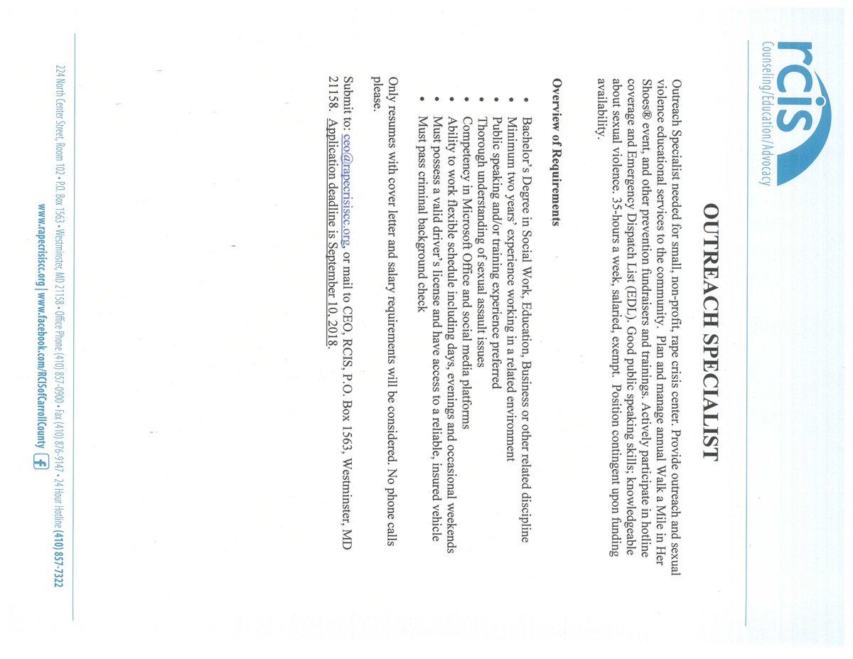 Ceo Application Cover Letter.Berc On Twitter Hiring Rape Crisis Center Of Carroll