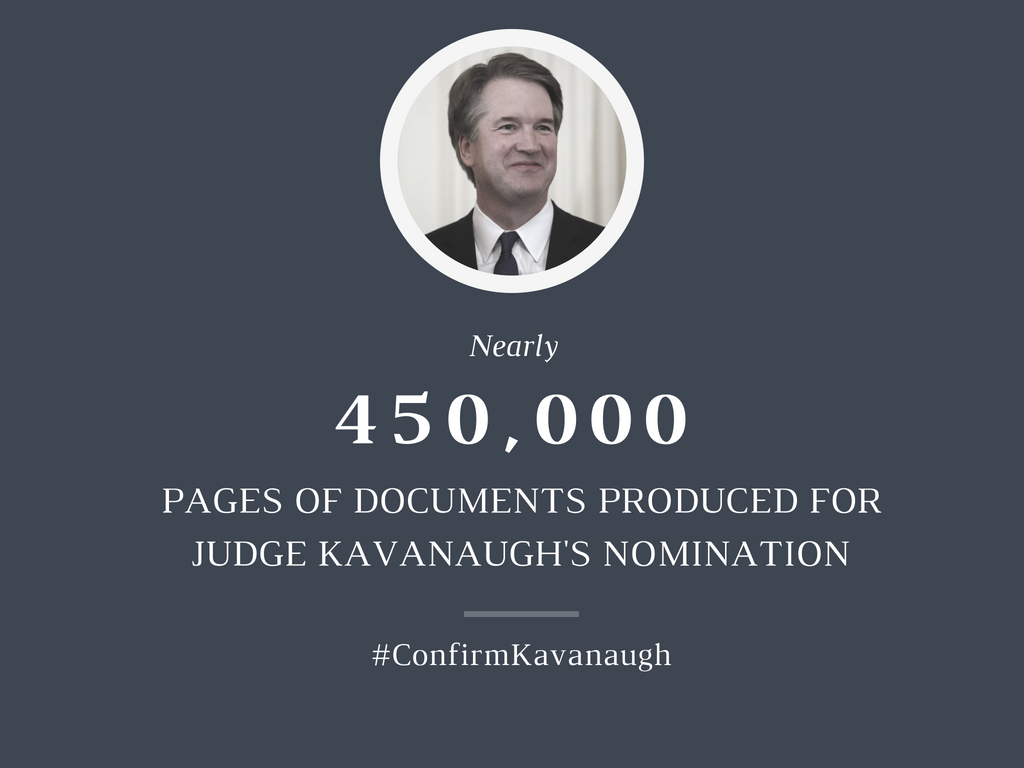 The Senate has received more documents for Judge Kavanaugh's nomination than for any #SCOTUS nomination in history.